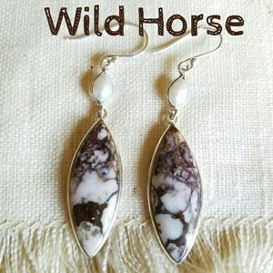 Wild Horse Stone Earrings Sterling Silver NEW